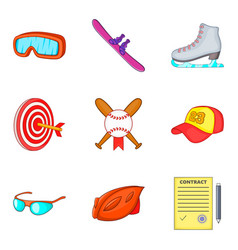 Hard sport day icons set cartoon style vector