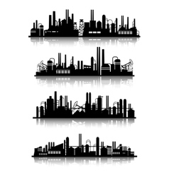 Industrial buildings silhouettes vector image