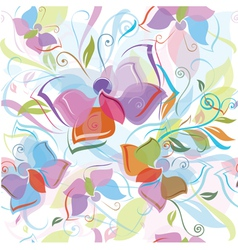 seamless pattern of flora and butterfly vector image vector image