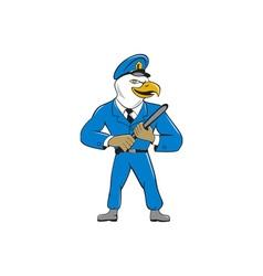Bald eagle policeman baton cartoon vector