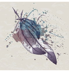 eagle feathers with watercolor splash vector image vector image