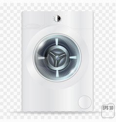 Realistic white front loading washing machine on vector