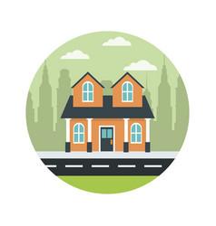 Traditional home facade real estate property vector