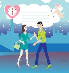 valentine date cartoon vector image vector image