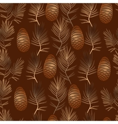 Xmas seamless pattern with golden pine vector