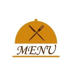 Cloche with crossed flatware and menu text vector image