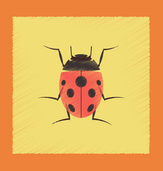 flat shading style insect ladybug vector image