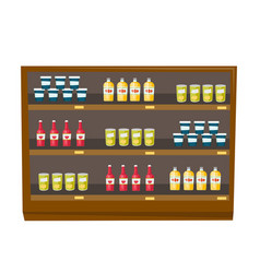 Grocery store shelves with products cartoon vector