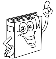 outlined book cartoon vector image vector image