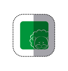 Sticker of color background square with face of vector