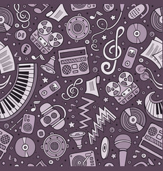 cartoon hand-drawn musical instruments seamless vector image