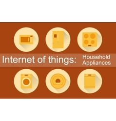 Internet of Things Household Appliances 6 icons vector image