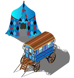 Isometric Gypsy wagon and tent vector image vector image