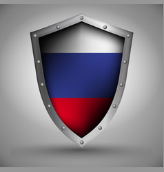 shield with the russian flag vector image vector image