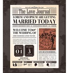 Vintage Newspaper Wedding Invitation Template vector image
