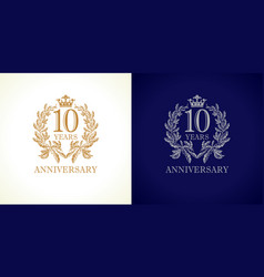 10 anniversary luxury logo vector