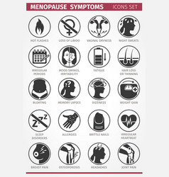20 menopause symptoms set icons vector