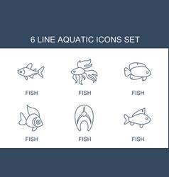 6 aquatic icons vector