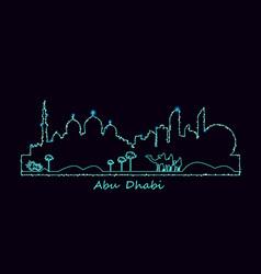 Abu-dhabi city at night vector