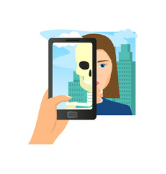 augmented reality using smartphone saw woman skull vector image