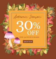 Autumn-themed border frame leaves and mushrooms vector