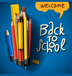 Back to school title words with realistic school vector