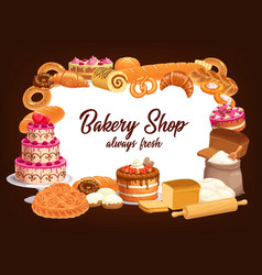 bakery shop bread pastry cakes and sweet desserts vector image