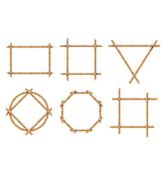 bamboo frames wood stick banners various vector image
