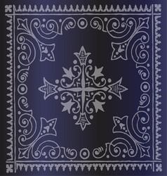 Beautiful Vintage Floral Dark Blue Background vector