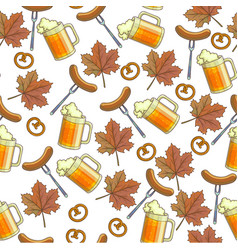 beer alcoholic beverage pretzels snack and maple vector image