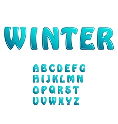 Blue ice shiny letters holiday winter fonts vector