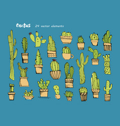 cacti handdrawn sketchcollection of different vector image