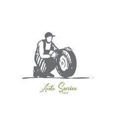 car wheel repair auto service replace vector image