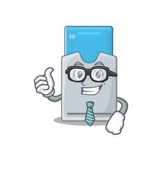 Cartoon character businessman key card wearing vector