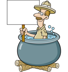 Cartoon explorer in a pot and holding a sign vector image