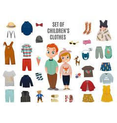 children fashion big icon set vector image