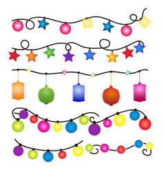 christmas lights and party on white background vector image
