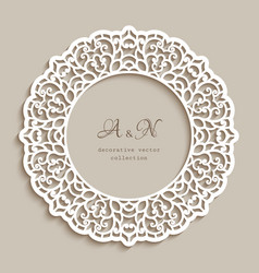 circle frame with cutout lace border pattern vector image