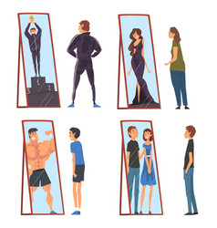 Collection people standing in front mirrors vector