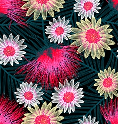Colorful cottage floral embroidery seamless vector image