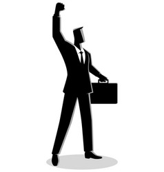 Confident businessman raising his right arm vector