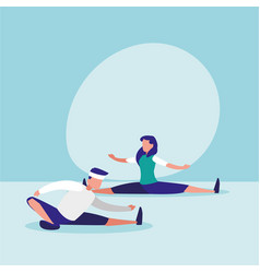 Couple practicing stretching avatar character vector