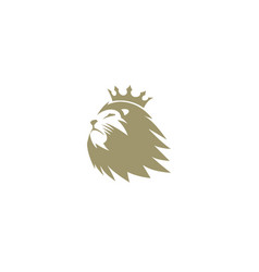creative brown lion head crown logo vector image