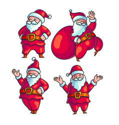 Cute santa claus hand drawn character set vector