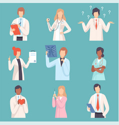 doctor and nurses set medical staff male and vector image