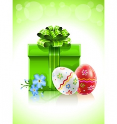 Easter gift with bow flower vector