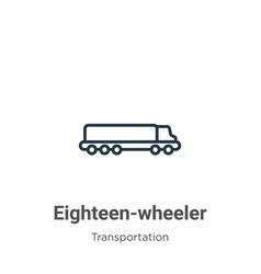 Eighteen-wheeler outline icon thin line black vector