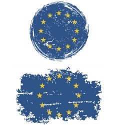European Union round and square grunge flags vector