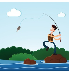 fishing in the river vector image