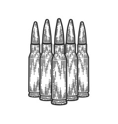 Five bullets stand nearby scratch board style vector